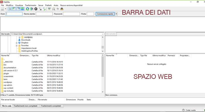 schermata iniziale di filezilla