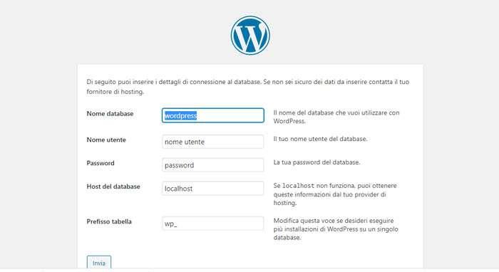 Installazione guidata wordpress - 2
